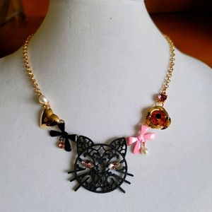 Betsey Johnson Black Cat Pearl Heart Necklace